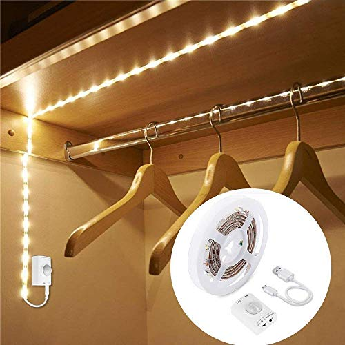 LUXJET® ricaricabile 30LED 1M corda leggera, luce guardaroba LED luce notturna con sensore di movimento per corridoio armadio da bagno cucina [Classe di efficienza energetica A +] (1M)