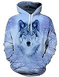 AIDEAONE Unisex Herren Damen Pullover Wolf Grau 3D Druck Hoodies Langarm Kapuzenpullover Kapuzenpulli Sweatshirts XL