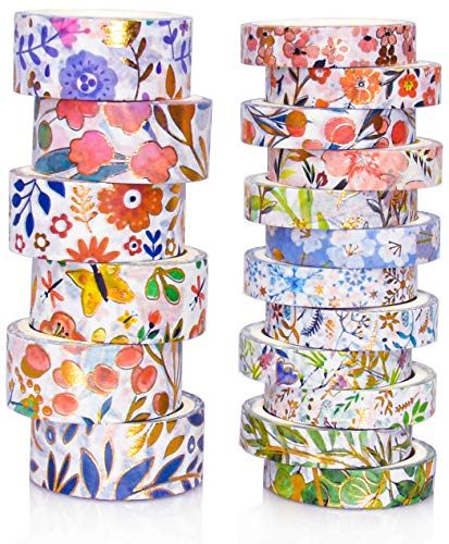 18 Rolls Gold Foil Floral Washi Tape Set,Colored Masking Tape,Colorful Decorative Painters Tape for Craft,Scrapbook,Bullet Journal,DIY,Gift Wrapping (Orange)
