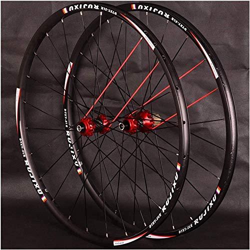 YZU Exzentrischer Ring 700C Rennrad Laufradsatz Carbon Tube Nabe Scheibenbremse Zentralverriegelung Durch Die Achse 8 9 10 11 Fach 24 Löcher (Color, Red),Red