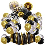 Black and Gold Graduation Party Decorations 2021 New Year Paper Fan Confetti Latex Balloons for Birthday Festival Retirement Gatsby Party Supplies