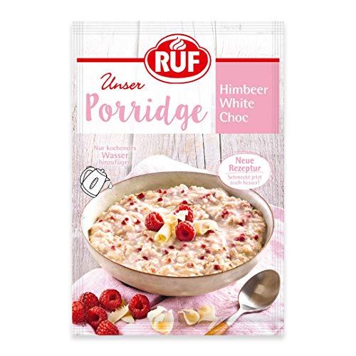 RUF Porridge Himbeer White Choc mit Vollkorn-Haferflocken, Himbeer-Stückchen und weißer Raspel-Schokolade, 1 x 65 g