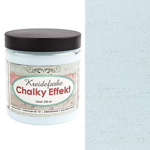 Ideen mit Herz Chalky Effekt Kreidefarbe, 250ml | hochdeckend | ultramatt | auf Wasser-Basis | Kreide-Farbe für Shabby-Chic & Vintage-Effekt (himmelblau)