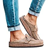 GHJNB Women's Fashion Sandals Casual Comfy Clogs Suede Slip on Sandals Round Toe Backless Slip on Loafer Shoes Closed Toe Walking Slippers Lady Boat Shoes,Brown,39