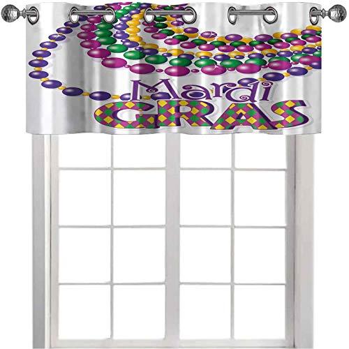 Cortinas de cocina cenefas, collares de cuentas coloridas con diseño de caligrafía Mardi Gras, 106,7 cm de ancho x 45,7 cm de largo para ventanas, multicolor
