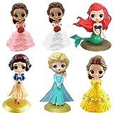 Disney Princess Cupcake Toppers,BKJJ Disney Princess Mini Figuras, Disney Princess Cake Topper Pastel Decoración Suministros 6Pcs Disney Princess Happy Birthday Party Supplies Decoraciones