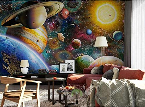 Kribee Professionelle 3D-Tapete, Weltraum-Universum, Kinderzimmer, Schlafzimmer, großes Wandbild, 300 x 210 cm