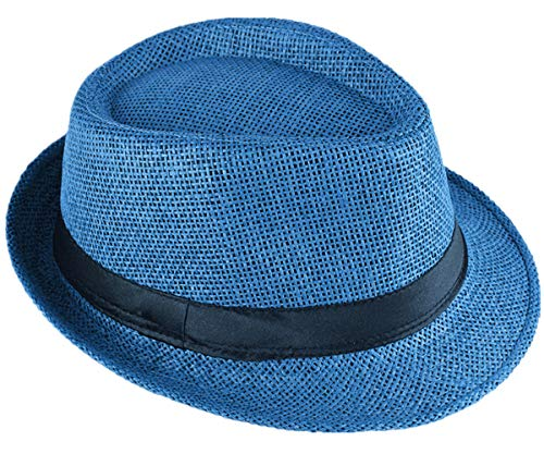 Strohhut Panama Fedora Trilby Gangster Hut Sonnenhut mit Stoffband Street Style (56, Königsblau (Strohhut))