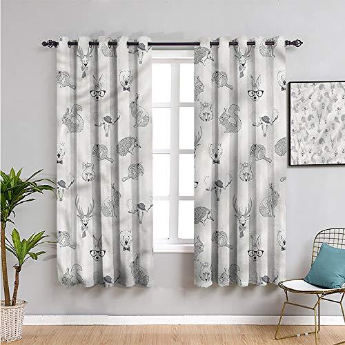 Pcglvie Cortinas opacas grises para dormitorio, cortinas de 160 cm de largo, diseño de animales bosques bohemios, uso repetible, 163 cm de ancho x 63 cm de largo