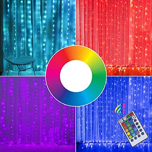 Fairy Curtain Lights, 16-Color Changing String Lights, USB Remote Control,...
