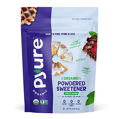 Pyure Organic Powdered Confectioners Stevia Sweetener Blend, 2:1 Sugar Substitute, 1 Pound (16 Ounce)