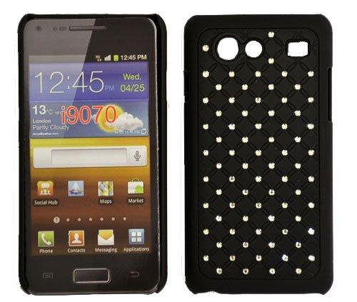 CUSTODIA RIGIDA GOMMATA CON BRILLANTINI per SAMSUNG I9070 Galaxy Advance S COLORE NERO