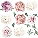 Ongwish 1Pcs Peony Rose Flowers Wall Sticker Waterproof Removable Peony Stickers <span class='highlight'>Romantic</span> Floral Wall Decals Art Nursery Decals Kids Room Living Room Home Decoration, 23.6 * 23.6 inch