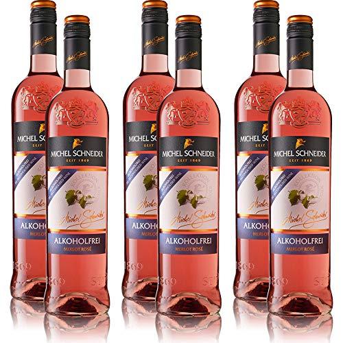 6 Flaschen Michel Schneider Merlot Rosé, alkoholfreier Wein, sortenreines Roséwein Paket (6 x 0,75 l)