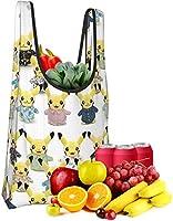 人気おしゃれ 再利用可能な食料品バッグ 洗濯可能 ポケットモンスター ピカチュウ (3) 折りたたみ式 A級エコ 高耐久 ポケットに入れる ショッピングトートバッグ 22 Kgを収納できます