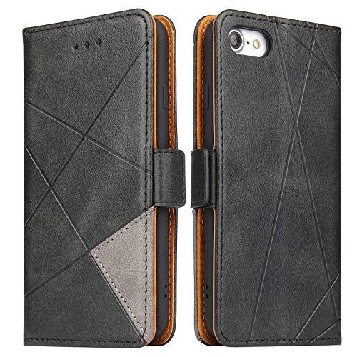 BININIBI Hülle für iPhone 7, Klapphülle Handyhülle Schutzhülle für iPhone SE 2020 Tasche, Lederhülle Handytasche mit [Kartenfach] [Standfunktion] [Magnetisch] für iPhone 8, Schwarz