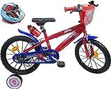 Bicicleta Infantil de 16 Pulgadas con 2 Frenos, Placa Frontal Decorativa, portabidón, Guardabarros, neumáticos hinchables + Casco Spiderman Incluido para niño, Rojo y Azul