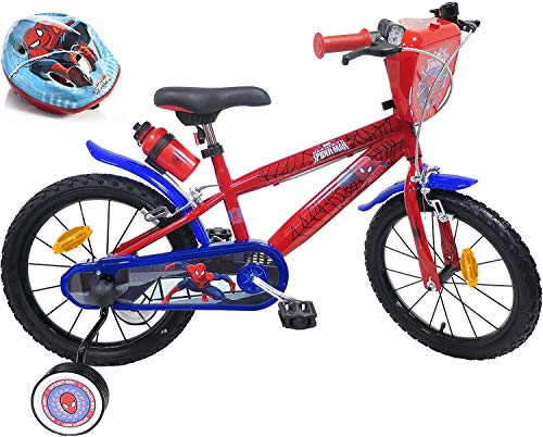 Bicicletta da bambino, 16 pollici, dotata di 2 freni, piastra anteriore decorativa, porta borraccia, parafango, pneumatici gonfiabili + casco Spiderman incluso, colore: rosso e blu