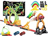 EMONO Tracke Racing Set Toy Game with 2 Car Pull Back Racer 360