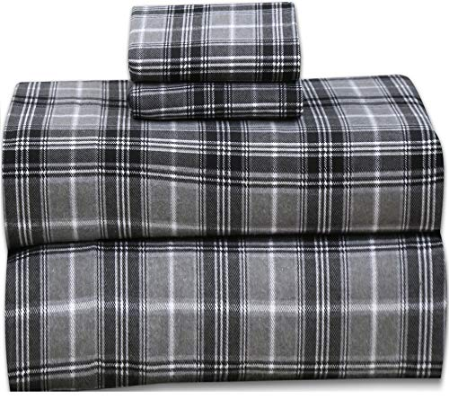 Ruvanti 100% Cotton 4 Piece Flannel Sheets Queen - Deep Pocket - Warm - Super Soft - Breathable Flannel Bed Sheets Set Queen Include Flat Sheet, Fitted Sheet & 2 Pillowcases (Buffalo Check Grey Plaid)