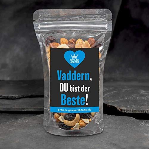 GeNUSSmischung - Vaddern, Du bist der Beste - Ein schönes Knabber-Geschenk - 175 g leckere Nuss-Frucht-Mischung - ungeschwefelt