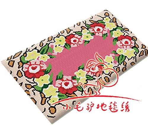 Latch Hook Kit Große Knüpfteppich Knüpfmatte Wohnzimmer Teppich DIY Handarbeit Selbst Knüpfen Set für Kinder und Erwachsene,Flower,116x67cm/46x26inch