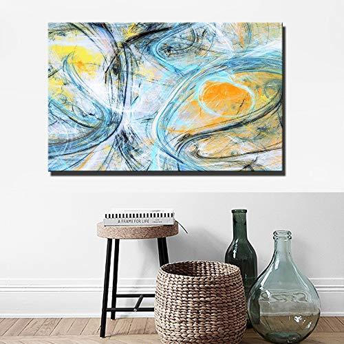 wZUN Carteles de Pared de Colores Brillantes e Impresiones de Gran tamaño línea Abstracta Moderna Cuadros de Lienzo de Arte para la decoración de la Sala de Estar 60x80cm