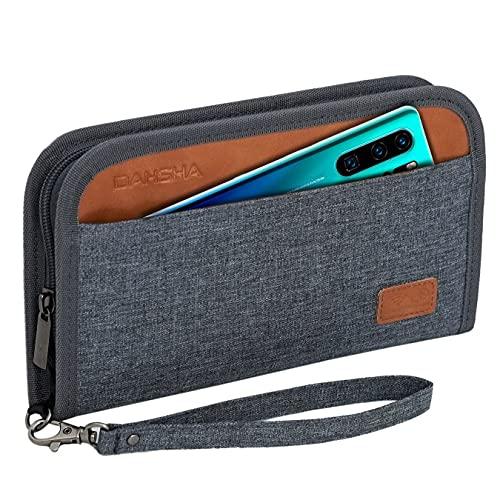 DAHSHA Easy Hand Strap Nylon Travel Wallet Family Passport Holder Cover RFID Blocking Travel Document Holder&Organizer for 5 Passports, ID Card, Credit Cards, Flight Tickets, Money, Coins, Keys (Grey)