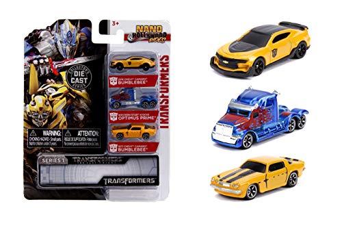 Jada Toys Transformers Nano Hollywood Rides 2016 Chevy Camaro Bumblebee, Western Star 5700XE Optimus Prime and 1977 Chevy Camaro Bumblebee, 1.75' Die-Cast Vehicles