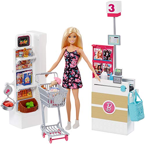Barbie Bambola, Supermercato, Carrello Funzionante e Tanti Accessori, Multicolore, FRP01