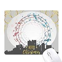 丸い形の赤と青の音楽ノート クリスマスイブのゴムマウスパッド