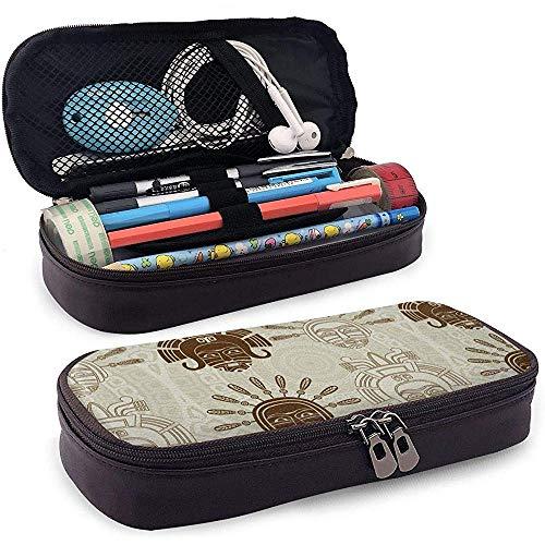 Indianer Maske Schablone und Schlaganfall Variante Leder Federtasche mit Reißverschluss, Mikrofaser Pu Leder Stifthalter Etui Unisex