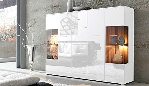 lifestyle4living Highboard mit Fronten in weiß Hochglanz, Korpus in weiß, Kommode mit 4 Türen und 4 Schubladen, Moderne Anrichte mit Soft-Close und Selbsteinzug