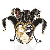 BLEVET Femme Musique Masque Vénitien Masquerade Mardi Gras pour Art Halloween Ball Party Carnaval MZ117 (Black)