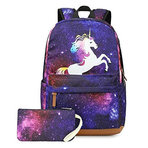Zaino Scuola Unicorno Per Ragazze Galaxy Con Porta Di Ricarica Usb Sacchetto Di Matita Bookbag Per Scuola Elementare 2 In 1 Zaini Per Ragazze