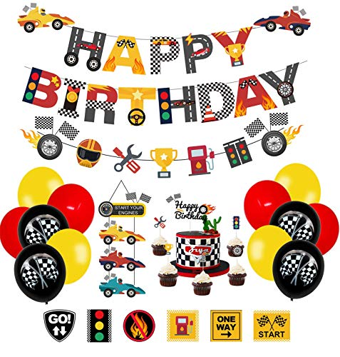 PRATYUS Race Car Birthday Decorations for Kids Boys Let's go Racing Party Supplies With Banner, Welcome Hanger, Car Party Signs, Cake Topper and Checkered Balloons