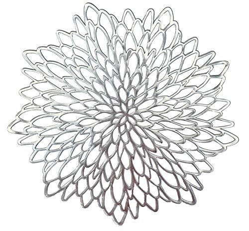 """"""" OCCASIONS"""" 40 Pieces Pack Pressed Vinyl Metallic Placemats/Wedding Accent Centerpiece Placemat (Silver Leaf)"""