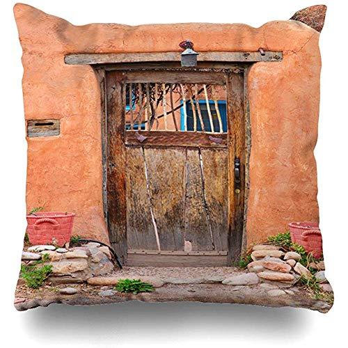 Suo Long Funda de cojín Casa Azul Puerta Vintage Santa Fe Nuevo Destino México Naranja Funda de cojín Adobe Southwest