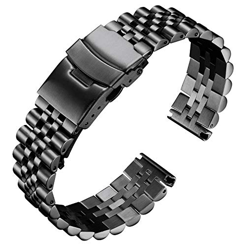 BINLUN Stainless Steel Watch Bands Replacement Metal Watch Straps Bracelet with Durable Butterfly Clasp 18mm 20mm 22mm 24mm 26mm in Black, Silver, Gold, Rose Gold, Gold-Silver for Men and Women