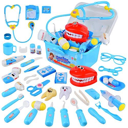TR Turn Raise Arztkoffer Kinder, 38 Stücke Doktorkoffer Kinder mit Lichtern und Geräuschen, Medical Kit Spielset für Jungs Mädchen ab 3 Jahre (Blau)