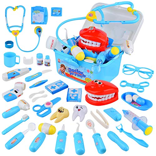 TR Turn Raise Juguetes de Médicos,38 Piezas Enfermera Médico Kit Parque Infantil para Niños,Juguetes Cumpleaños Regalos para 3 4 5 6 7 Niñas Ninos(Azul)