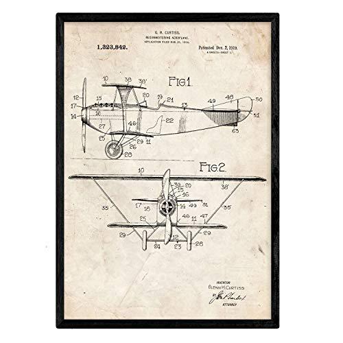 Nacnic Poster con patente de Avion de reconocimiento. Lámina con diseño de patente antigua en tamaño A3 y con fondo vintage