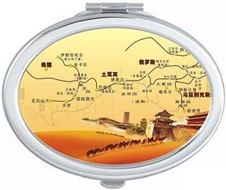 Landmark Camel Desert Journey Silk Road Map Mirror Portable Fold Hand Makeup Double Side Glasses