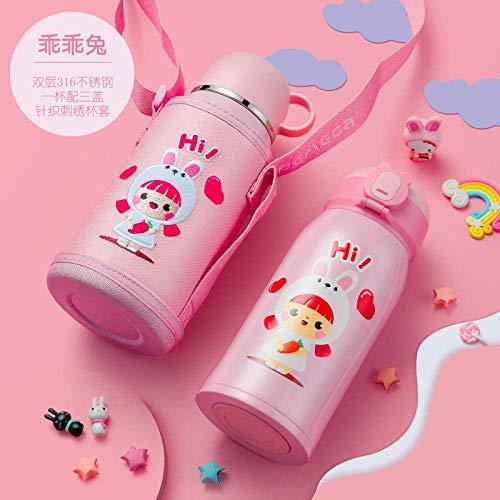 SLM-max Tragbarer Wasserbecher,Wasserflasche Sport Wasserflasche Kinderbecher mit Stroh Dual-Use 316 tragbare Kindergarten Cup Kettle-Cute Hippo