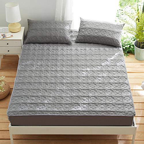HPPSLT Protector de colchón Acolchado - Microfibra - Transpirable - Funda para colchon estira hasta La sábana de algodón Acolchada Antideslizante-Gris_150cm × 200cm