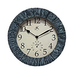 Stone Indoor/Outdoor Wall Clock Waterproof Large Display 10 inch Battery Operated Slate Clock with Thermometer Decorative Clocks for Pool, Patio, Outdoors, Living Room, Kitchen, Bathroom