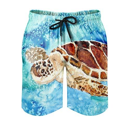 Ktewqmp Zomer zwembroek baby zeeschildpad schattige kunst mannen zwembroek badshorts man met zakken kant