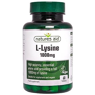 Natures Aid L-Lysine 1000 mg, High Potency Essential Amino Acid, Vegan, 60 Tablets