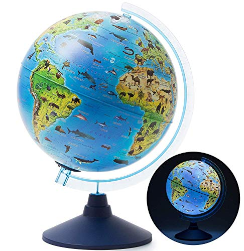 Exerz 25CM Zoo-Geo Illuminated Globe with Cable Free LED Light/ 2 in 1/ Day...