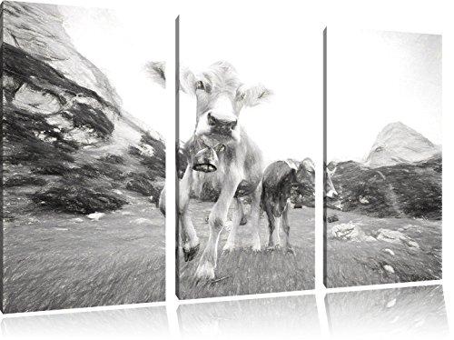 Pixxprint Almkuh auf der Weide Kunst / 3-Teilig/Gesamtmaß 120cm Leinwandbild bespannt auf Holzrahmen/Wandbild Kunstdruck Dekoration